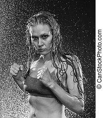 molhados, atlético, mulher, posar, em, boxe, posição
