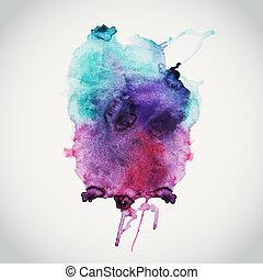 molhados, scrapbook, espaço, vazio, message., cores, fundo, ilustração, vetorial, mão, composição, elementos, paper., desenhado, mancha, abstratos, texto, aquarelas, aquarela