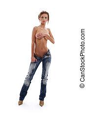 molhados, topless, menina, em, calças brim azuis, #2