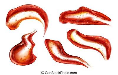 molho, esguichos, ketchup, vista, topo, tomate, blobs, jogo