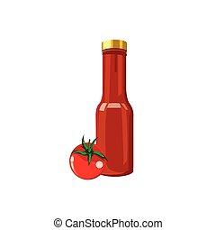 molho, garrafa, ilustração