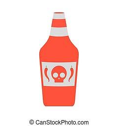 molho, garrafa, isolado, quentes, ícone