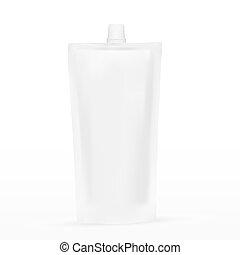 molho, grande, plástico, em branco, maionese, spouted, bolso, ou, ketchup