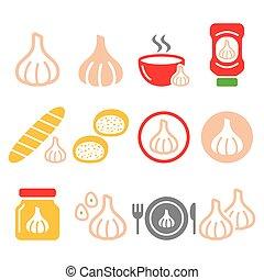 molho, projetos, jogo, ícones, alimento, -, sopa, vetorial, alho, alho, pão