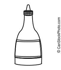 molho quente, garrafa, ícone