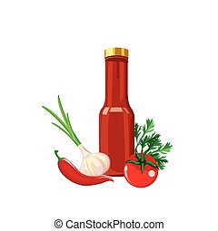 molho quente, garrafa, ilustração