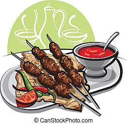 molho tomate, kebab