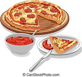 molho tomate, pizza
