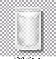 molho, zipper., transparente, em branco, maionese, bolso, ou, ketchup, pacote