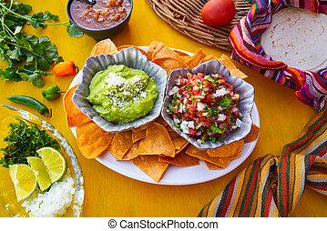molhos, pico, mexicano, guacamole, gallo