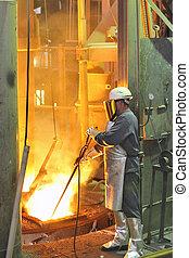 molino acero, trabajador, caliente