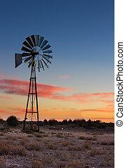 molino de viento, azul, cielo, árboles, ocaso,  kalahati, pasto o césped