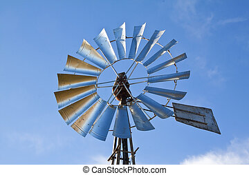 molino de viento, azul, cielo, levantamiento, sol