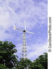 molino de viento, azul, cielo