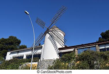 molino, de, viento, blanco
