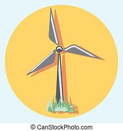 molino de viento, círculo, shadow.eps, icono
