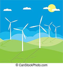 molino de viento, campo, vector