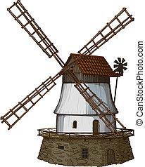 molino de viento, dibujado, en, un, woodcut, como, mí