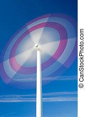 molino de viento, en el movimiento, contra, cielo