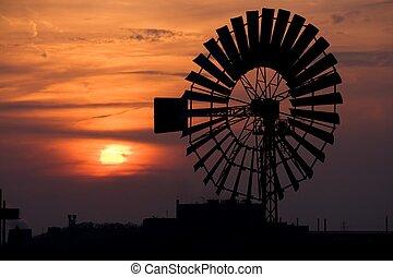 molino de viento, en, ocaso