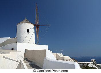 molino de viento, en, oia, (santorini)