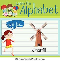 molino de viento, flashcard, w, carta