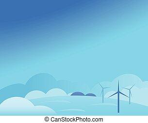 molino de viento, invierno, papel pintado, ilustración, vector, paisaje