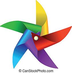 molino de viento, juguete, colorido