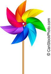 molino de viento, juguete, vector, ilustración