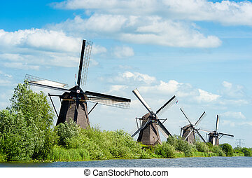 molino de viento, países bajos, kinderdijk, paisaje