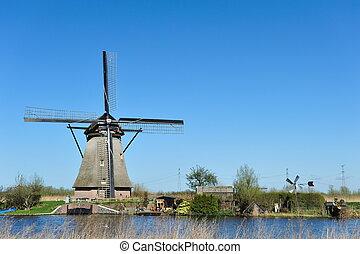 molino de viento, paisaje, en, kinderdijk, el, países bajos