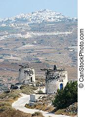 molino de viento, ruinas, en, santorini