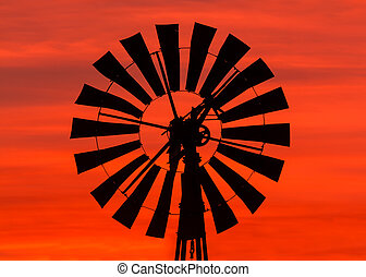 molino de viento, salida del sol
