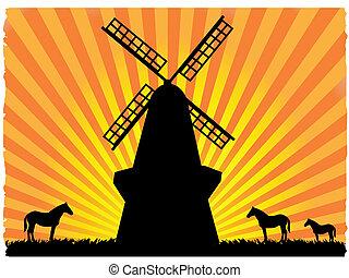 molino de viento, silhouetted, campo, luego, caballos