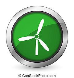 molino de viento, verde, icono, energía renovable, señal