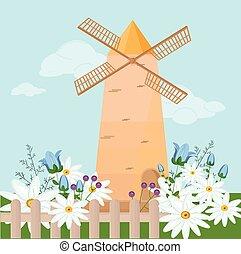 molino, en, el, primavera, vector., camomile, flores, provence, estilo