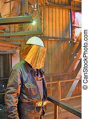 molino, trabajador, con, caliente, acero