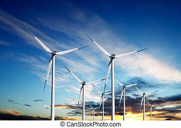 molinos de viento, en, ocaso