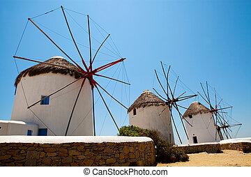molinos de viento, mykonos, grecia