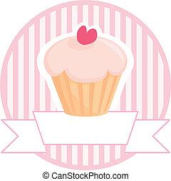 mollete, cupcake, vector, señal
