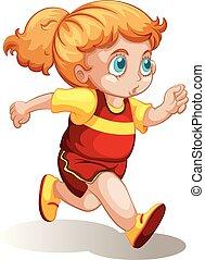 mollig, meisje, rennende