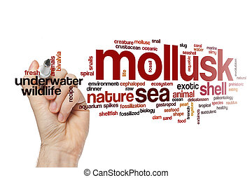 mollusque, concept, mot, nuage
