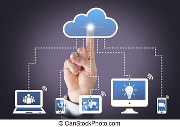 moln, beräkning, begreppen, på, synlig bildskärm