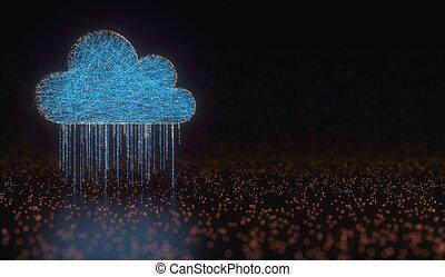 moln, beräkning, data, regna