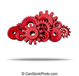 moln, beräkning, med, röd, utrustar, och, kuggar