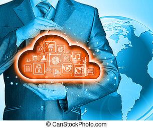 moln, beräkning, touchscreen, gräns flat