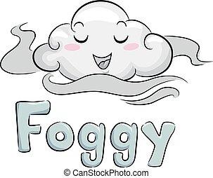moln, dimmig, illustration, maskot