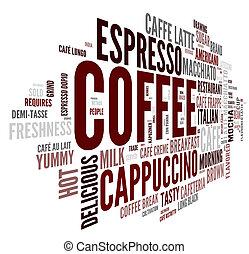 moln, etikett, kaffe, begrepp, ord
