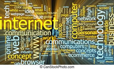 moln, glödande, internet, ord