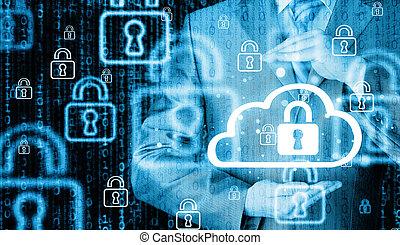 moln, information, data, concept., skydda